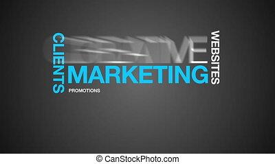 marketing, parola, nuvola, animazione