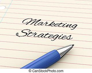 marketing, -, pen, papier, strategieën, 3d