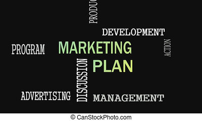 Marketing Plan word cloud concept on black background.