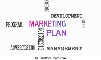 Marketing Plan word cloud concept on white background.