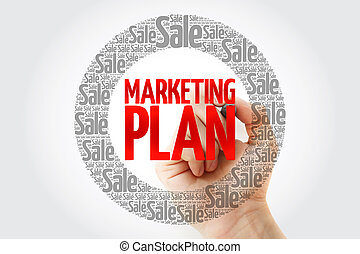 Marketing Plan word cloud with marker