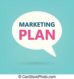 marketing plan written on speech bubble