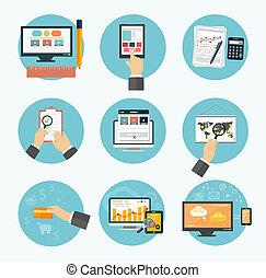 marketing, posten, icons., buero, geschaeftswelt