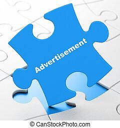 marketing, quebra-cabeça, concept:, fundo, anúncio