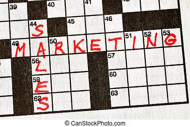 marketing, raadsel, omzet, woorden, kruiswoordraadsel