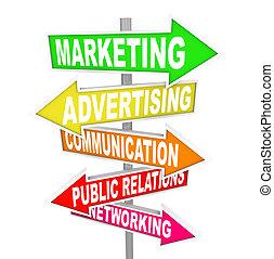 marketing, reclame, communicatie, op, richtingwijzer, tekens...