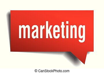 marketing red 3d speech bubble