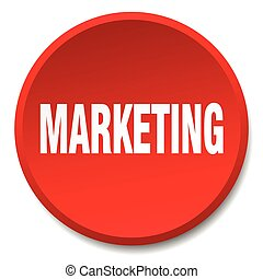 marketing red round flat isolated push button