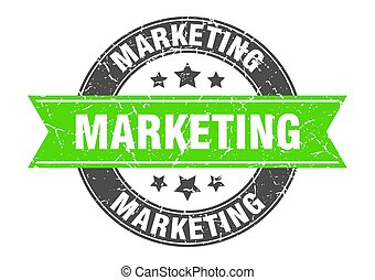 marketing round stamp with green ribbon. marketing