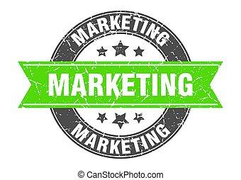 marketing round stamp with green ribbon. marketing