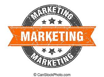 marketing round stamp with orange ribbon. marketing