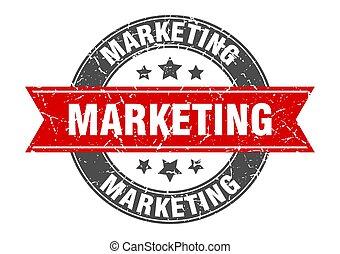 marketing round stamp with red ribbon. marketing