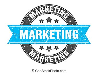 marketing round stamp with turquoise ribbon. marketing