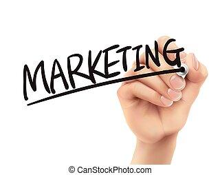 marketing, scritto, mano