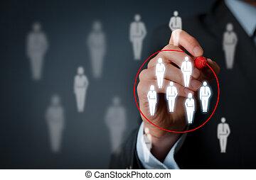 Marketing segmentation, target audience, customers care,...