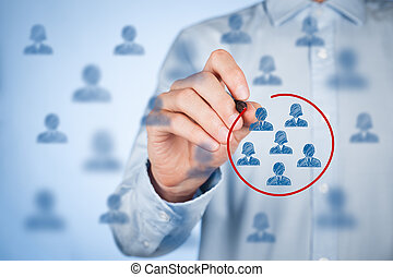 Marketing segmentation, target audience, customers care, customer relationship management (CRM), customer analysis and focus group concepts.