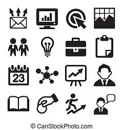 marketing, seo, e, desenvolvimento, ícones, jogo