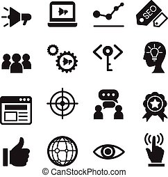 marketing, set, internetten ikoon