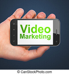marketing, smartphone, video, concept:, geschaeftswelt