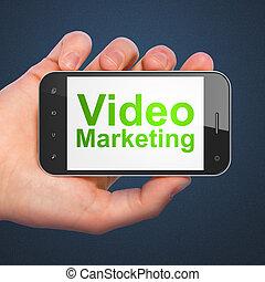 marketing, smartphone, video, concept:, geschaeftswelt