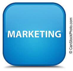 Marketing special cyan blue square button