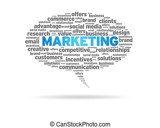 Marketing - Speech bubble with the word marketing on white...