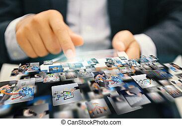 marketing., střední jakost, společenský, concept.