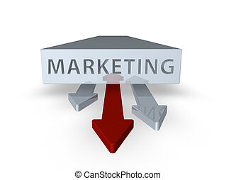 marketing - block with marketing text and three arrows on...