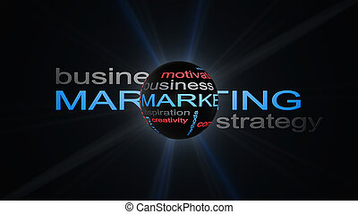 marketing, strategia affari, parola, nuvola, testo, concetto