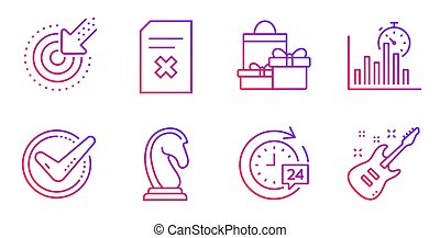 Marketing strategy, 24h delivery and Shopping icons set. Report timer, Targeting and Delete file signs. Vector