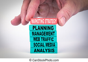 Marketing Strategy. Business Concept With Colorful Wooden Blocks