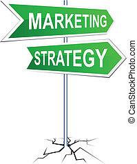 marketing-strategy, irány, cégtábla.