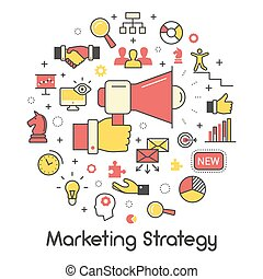 Marketing Strategy Line Art Thin Vector Icons Set with Megaphone and Advertisement Elements