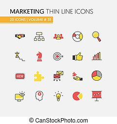 Marketing Strategy Linear Thin Line Vector Icons Set with Megaphone and Advertisement Elements