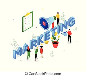Marketing strategy - modern colorful isometric vector illustration