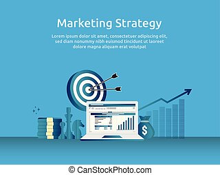 marketing strategy spreadsheet on screen. business finance analysis audit with graphs charts. Return on investment ROI concept. increase profit stretching rising up. banner template illustration.