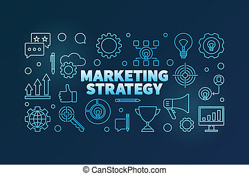 Marketing Strategy vector blue linear horizontal illustration