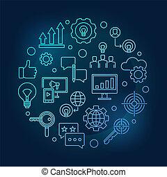 Marketing Strategy vector outline blue circular illustration