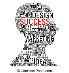 Marketing success head communication - Head shape with...