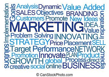 marketing, szó, felhő