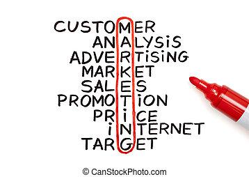 marketing, tabel, met, rood, teken