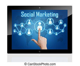 marketing, tablet, sociaal