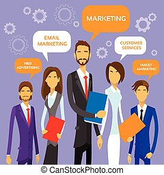 Marketing Team Concept Business People Group Flat Vector...