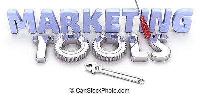 marketing, technológia, ügy szerszám