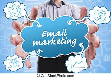 marketing., technologie, pensée, about:, internet, jeune, business, commercialisation, homme affaires, email