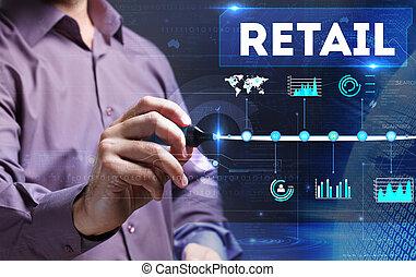 Marketing, technologie, zakelijk, jonge, schrijvende,  man,  Internet, Detailhandel,  word: