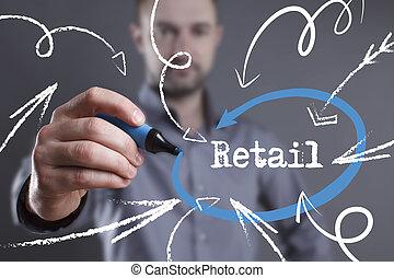 marketing., technologie, zakelijk, jonge, schrijvende , man, internet, detailhandel, word: