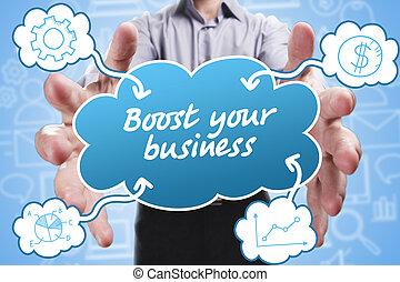 marketing., tecnología, empresa / negocio, pensamiento, about:, joven, empresa / negocio, internet, hombre de negocios, alza, su