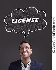 marketing., tecnología, licencia, pensamiento, about:, joven, empresa / negocio, internet, hombre de negocios
