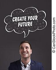 marketing., tecnología, pensamiento, about:, crear, joven, empresa / negocio, futuro, internet, hombre de negocios, su